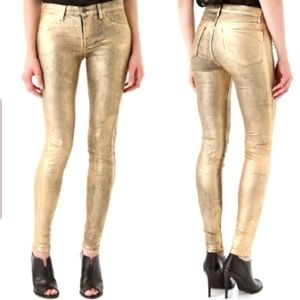 NEW J Brand Gold Skinny Jeans Coated metallic Gold